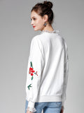 Women's Sweatshirt Floral Embroidery Long Sleeve Plus Size Sweatshirt