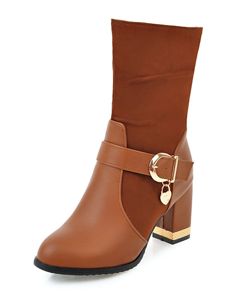 Women's Bottine Patchwork Thick Heel Square Heel Strap Buckle Design Boots