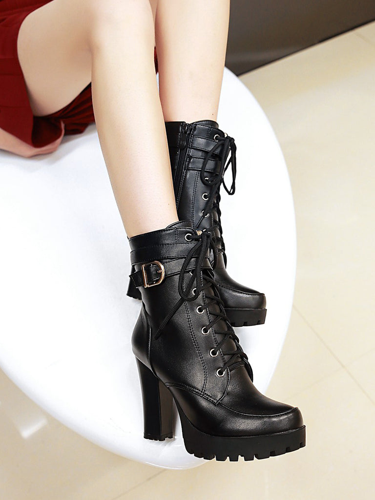 Women's Martin Boots Lace Up Thick Sole High Heel Thick Heel Casual Stylish Boots