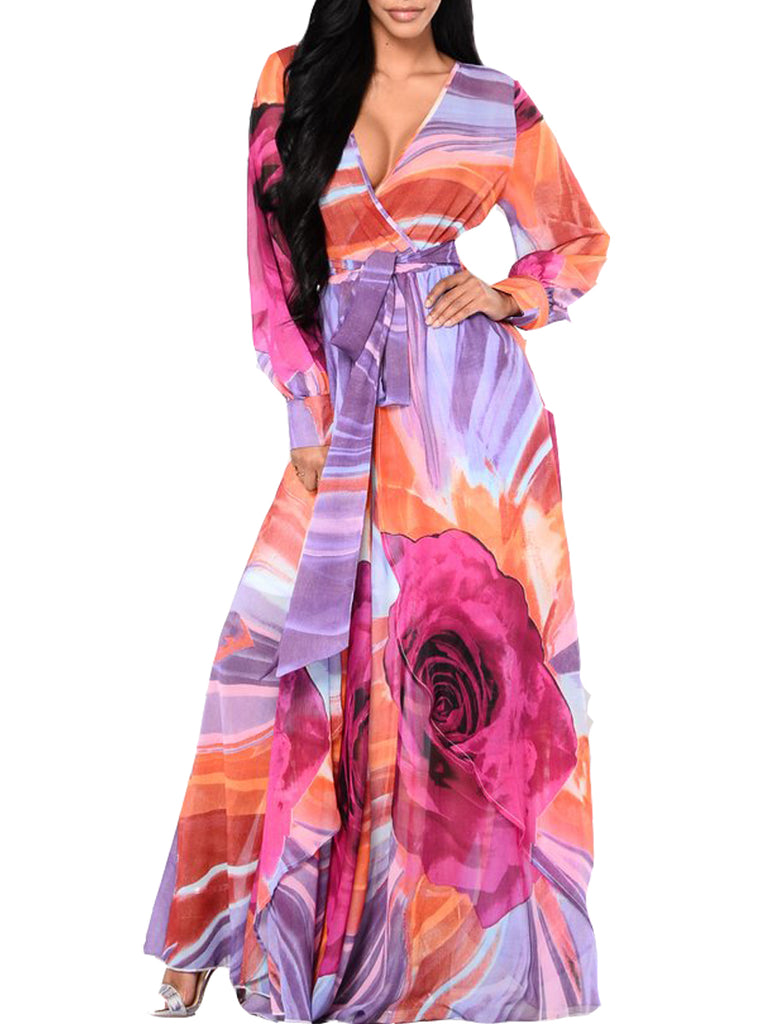 Women's Dress Color Block Long Sleeve Maxi Long Dress