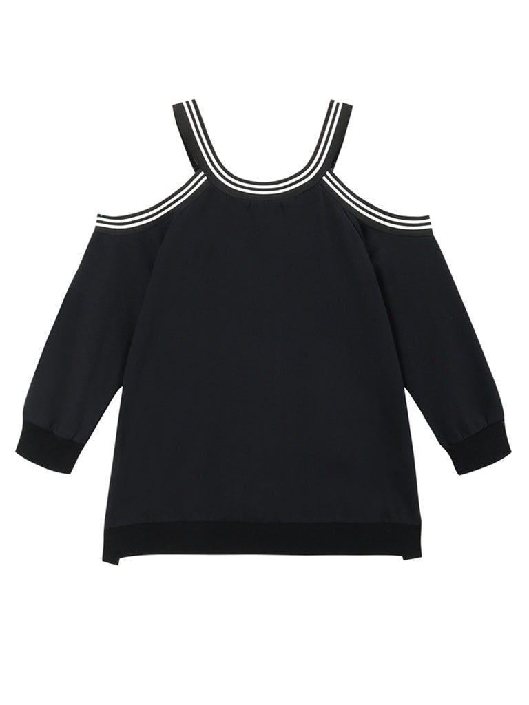 Women's Sweatshirt Off Shoulder Color Block Casual Plus Size Sweatshirt