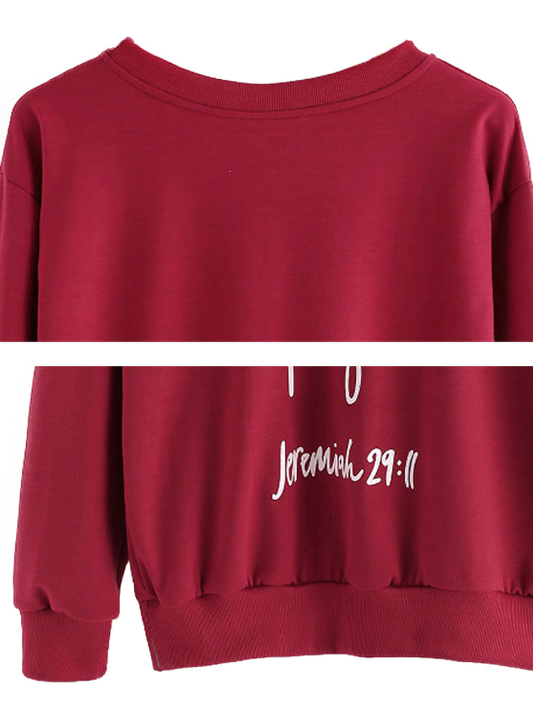 Women's Sweatshirt Letter Pattern Long Sleeve Casual Sweatshirt
