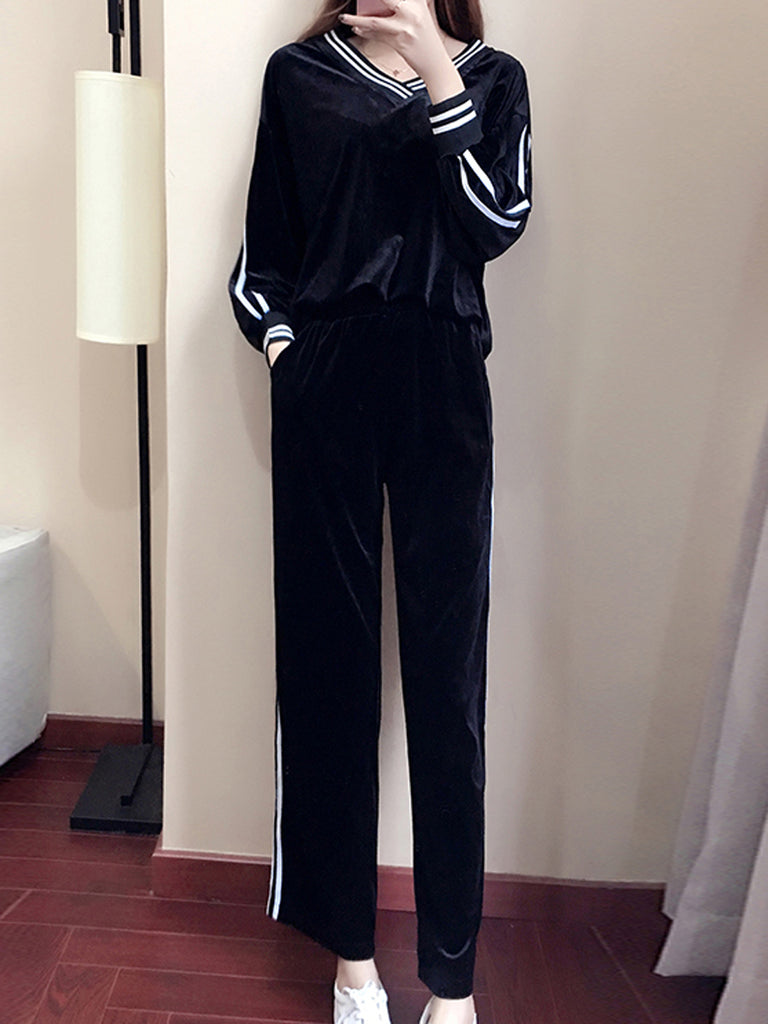 Women's 2Pcs Pants Suits Stripe Color Block V Neck Loose Pants Suits