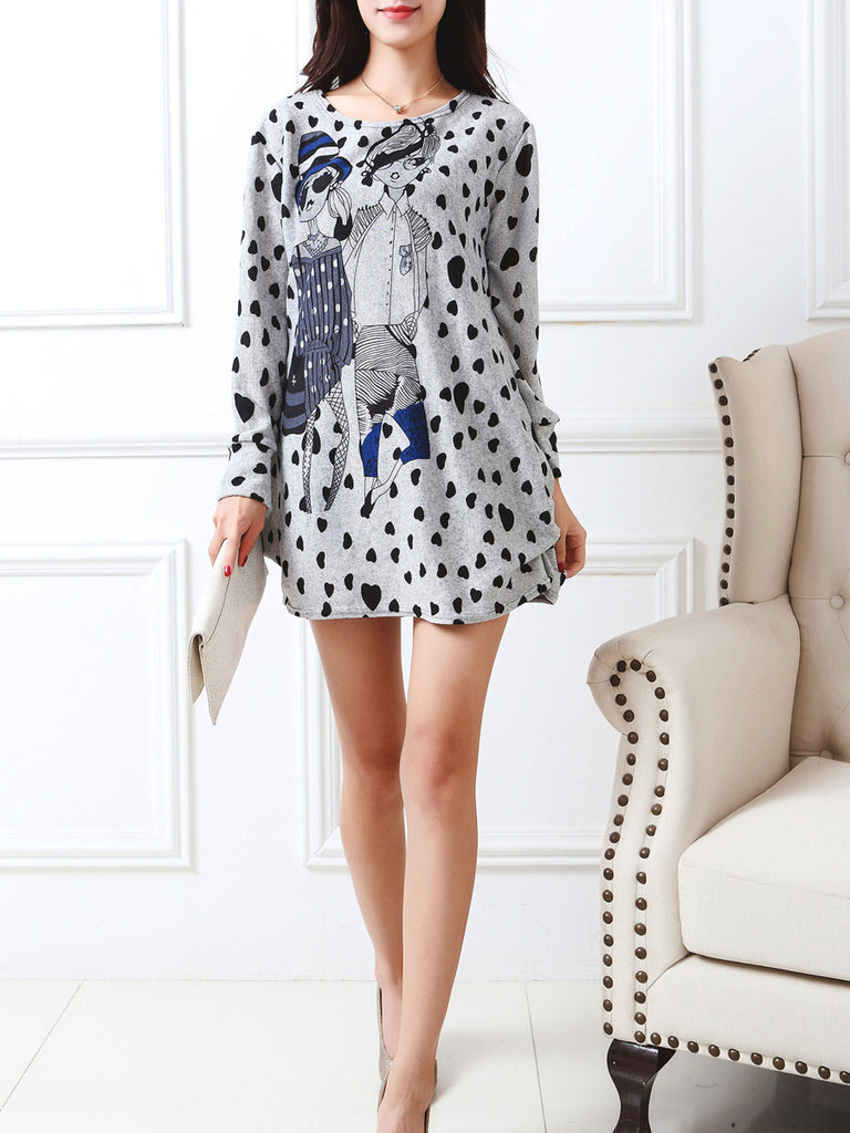 Women's Dress Long Sleeve Polka Dot Cartoon Pattern Mini Dress