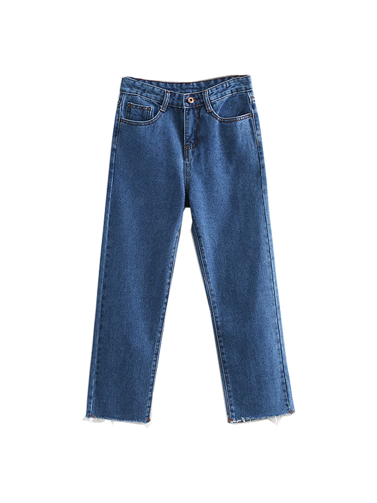 Women's Jeans Solid Color Cropped High Waist Wide Leg Jeans