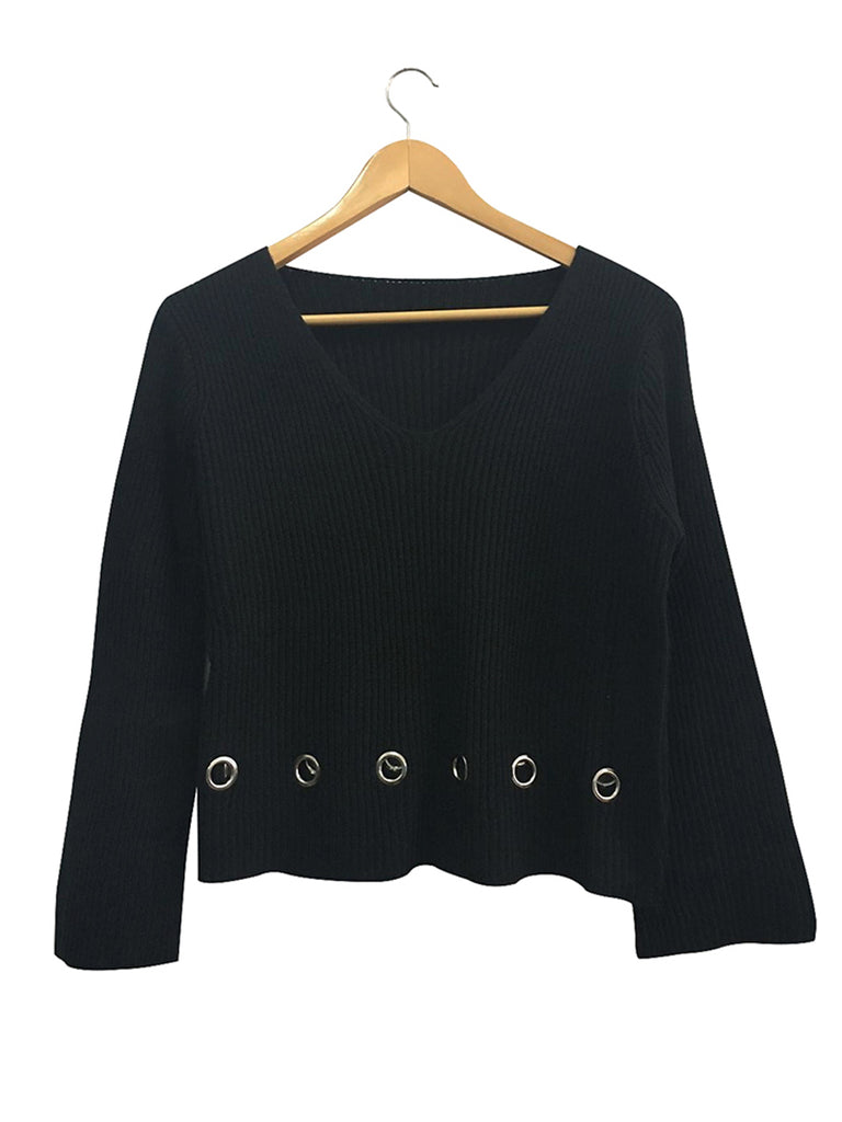 Women's Sweater Solid Color V Neck Hollow Out Knitwear