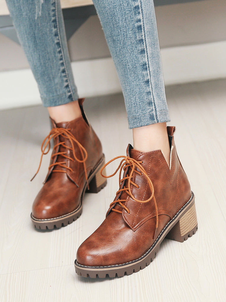 Women's Fashion Martin Boots Thick Heels Patchwork V Shaped High Top Lace-up Boots