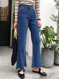 Women's Denim Pants Retro Solid Frayed Wide Leg Jeans