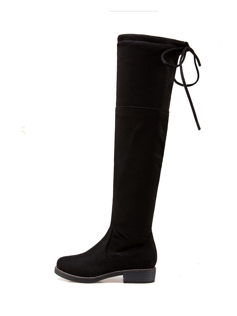 Women's Above Knee Boots Chic All Match Solid Color Round Toe Low Heel Elastic Boots