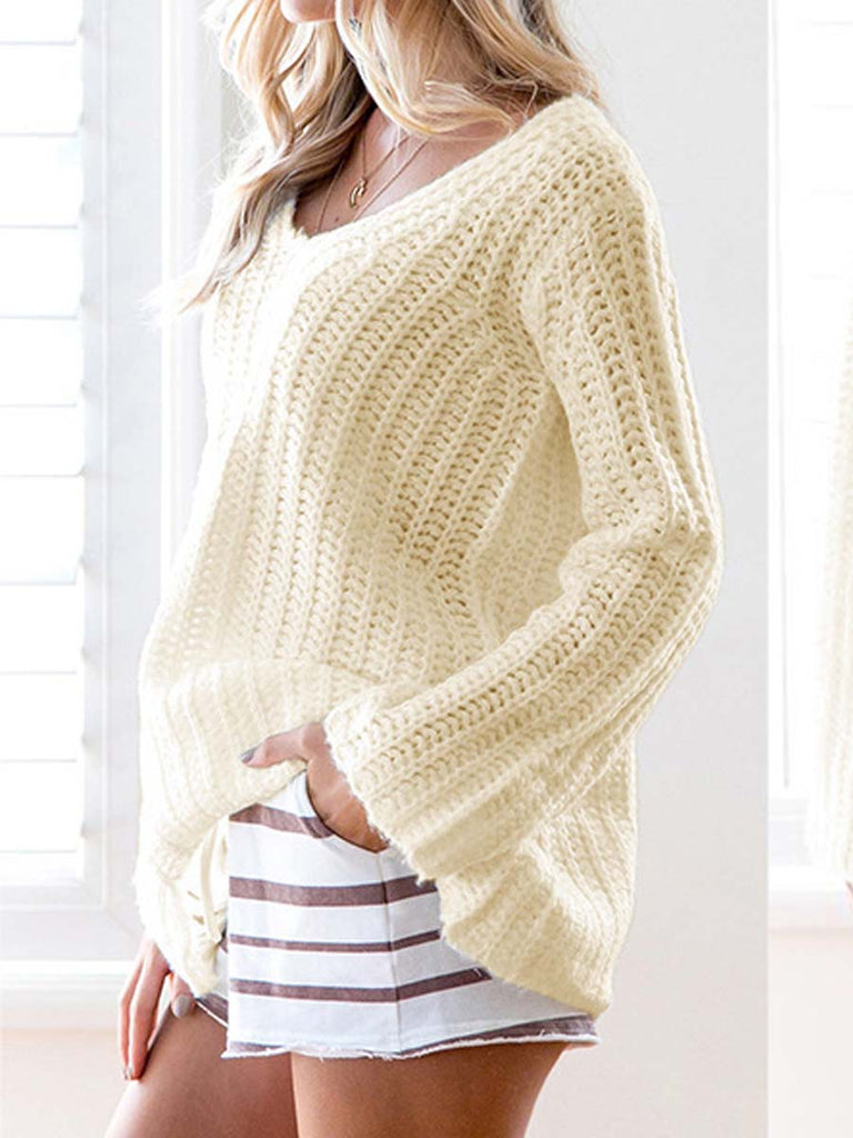 Women's Sweater Solid Color V Neck Casual Knitwear