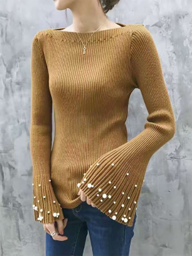 Women's Sweater Rhinestone Flared Sleeve Cozy Pullover