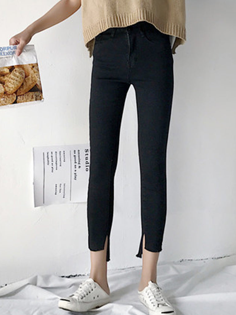 Women's Denim Pants High Low Split Skinny Jeans