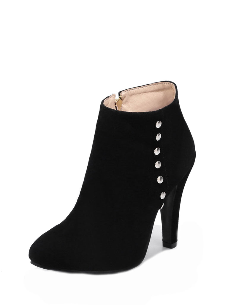 Women's Bottines Fashion Rivets Ornament Solid Color Brief High Heel Shoes