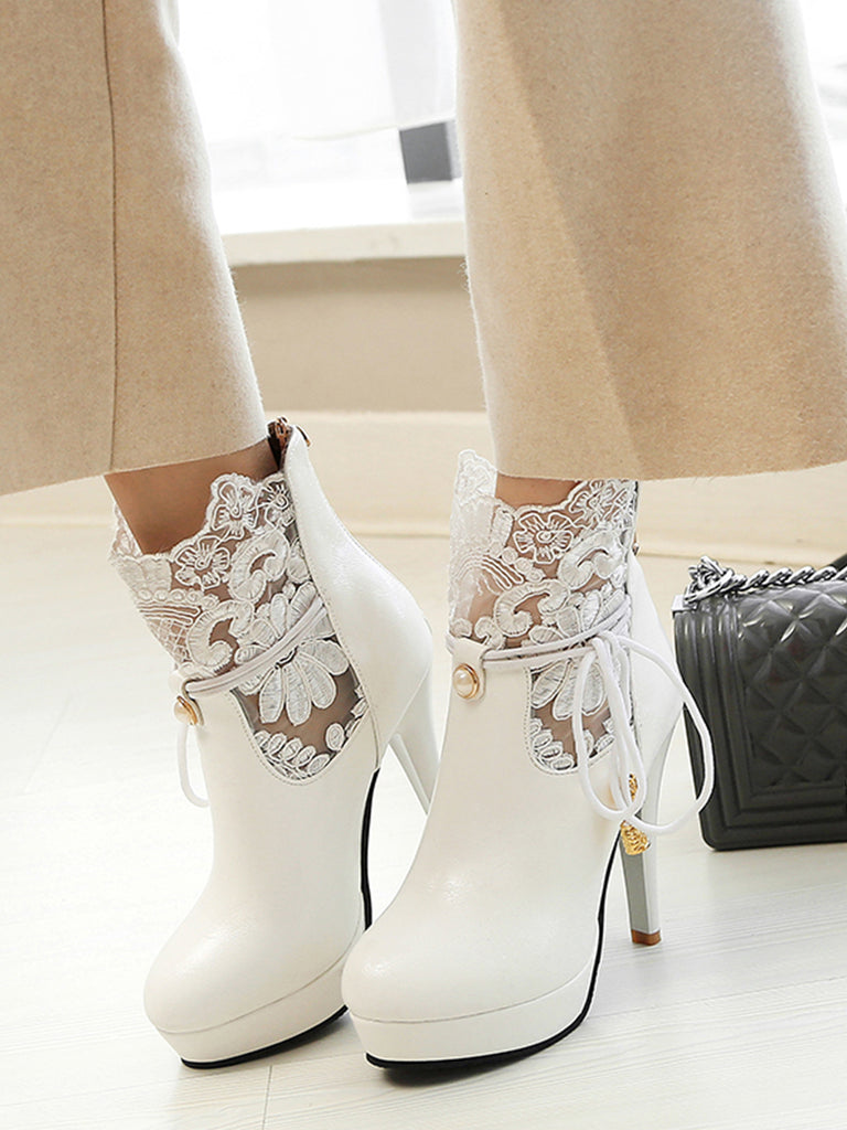 Women's Bottines All Match Vogue Strappy Lace High Heel Shoes
