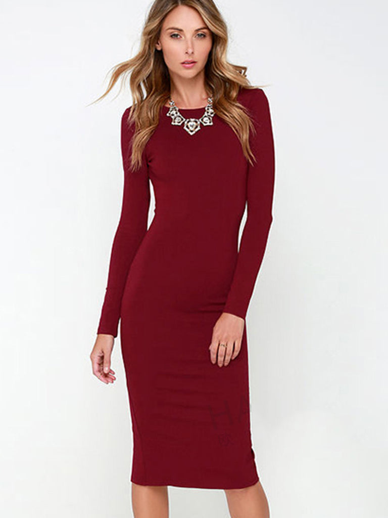 Women's Sheath Dress Long Sleeve Backless Split Design Solid Color Sexy Dress
