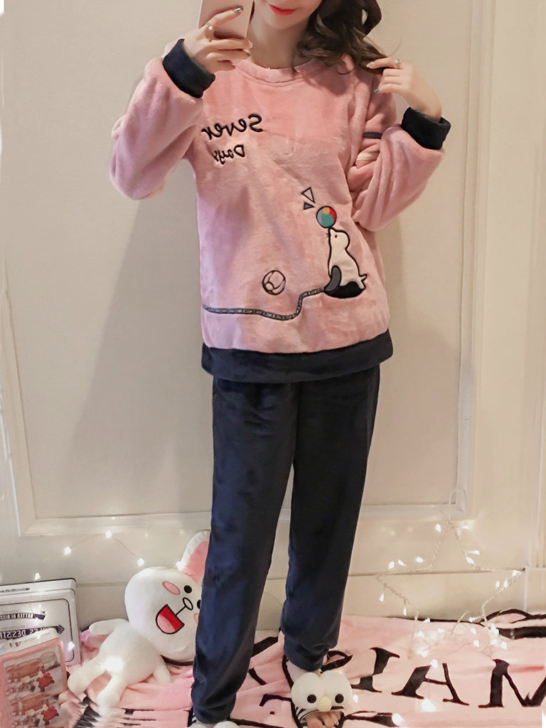 Women's 2 Pcs Sleepwear Cartoon Letter Pattern O Neck Long Sleeve Comfy Pajamas Set