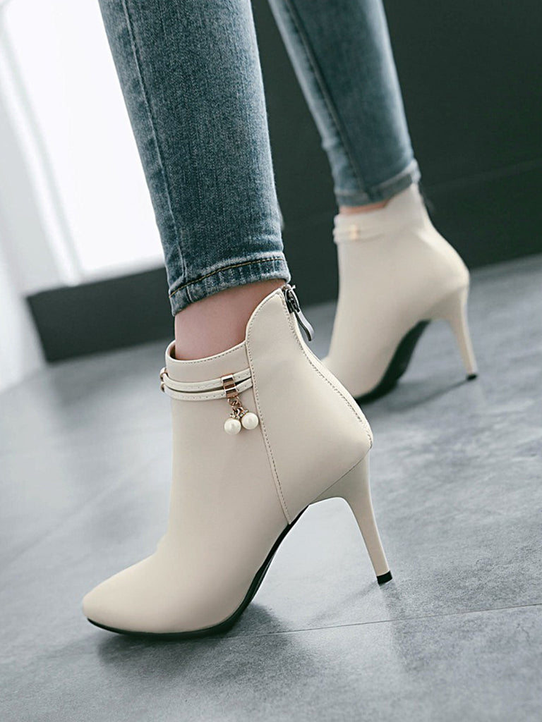 Women's Bottine Simple Style Fashion All Matched Solid Color Thin Heel Shoes