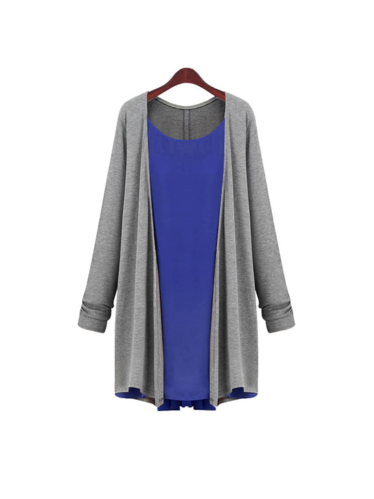 Women's Cardigan Color Block Patched Split V Neck Cardigan