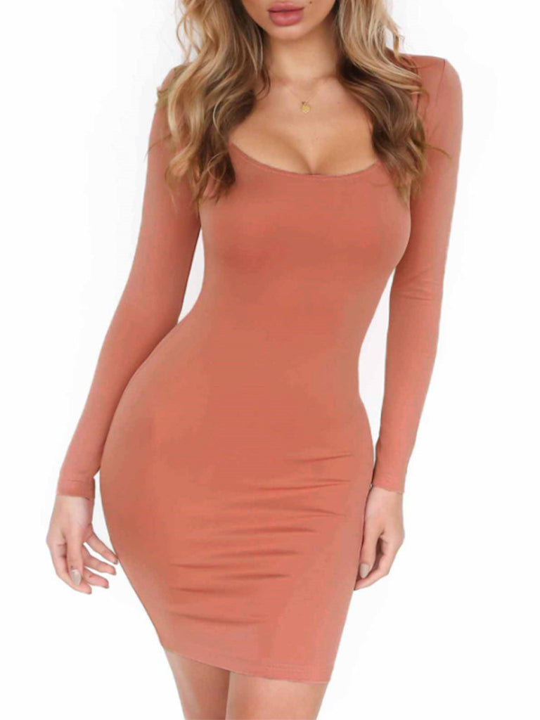 Women's Sheath Dress Long Sleeve Square Collar Solid Color Sexy Dress