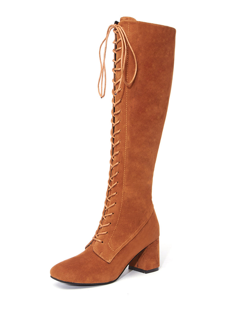 Women's Above Knee Boots All Matched British Style Square Toe Thick Heel Shoes