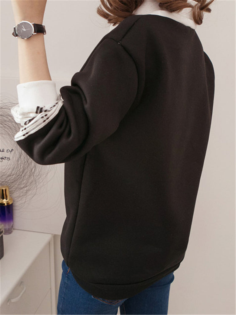 Women's Sweatshirt Patchwork Casual Fleece Top