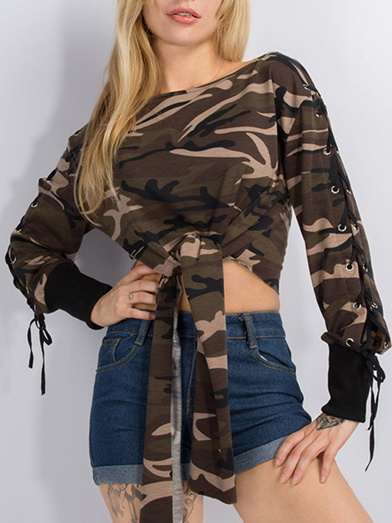 Women's Sweatshirt Long Sleeve Camouflage Pattern Lacing Cropped Sweatshirt