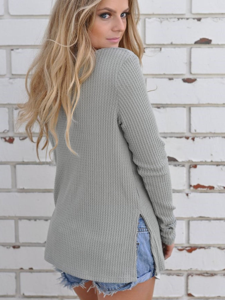 Women's Pullover O Neck Long Sleeve Solid Color Casual Sweater