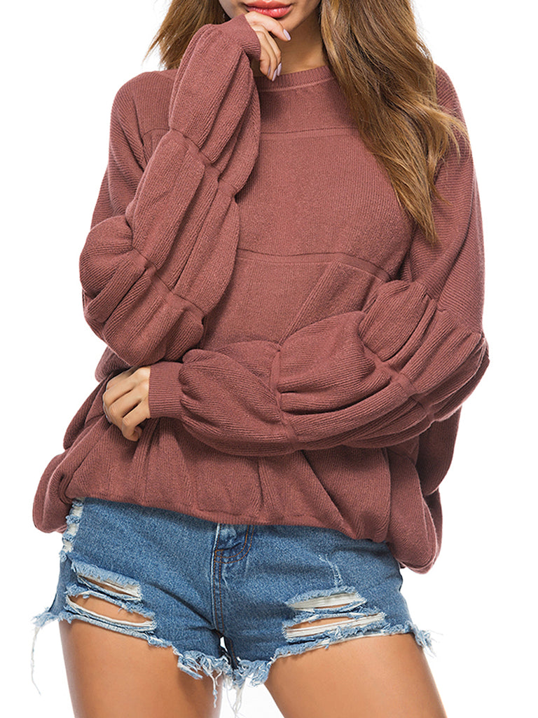 Women's Pullover Loose Long Sleeve Solid Sweater