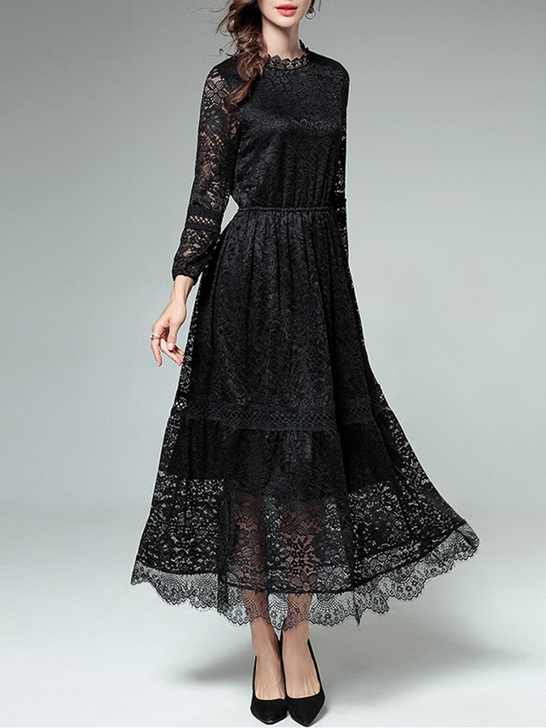 X.C.K.Y Women's Dresses Elegant Ladylike Solid Color Long Sleeve Lace Hollow Out Maxi Dress