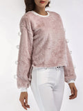 Women's Sweatshirt Solid Color Fur Ball Patchwork Sweet Sweatshirt