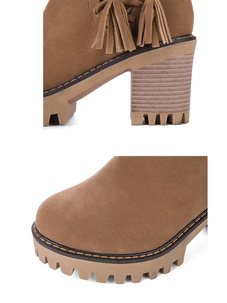 Women's Bottines British Style Round Toe Casual Tassel Strappy Thick Heel Shoes
