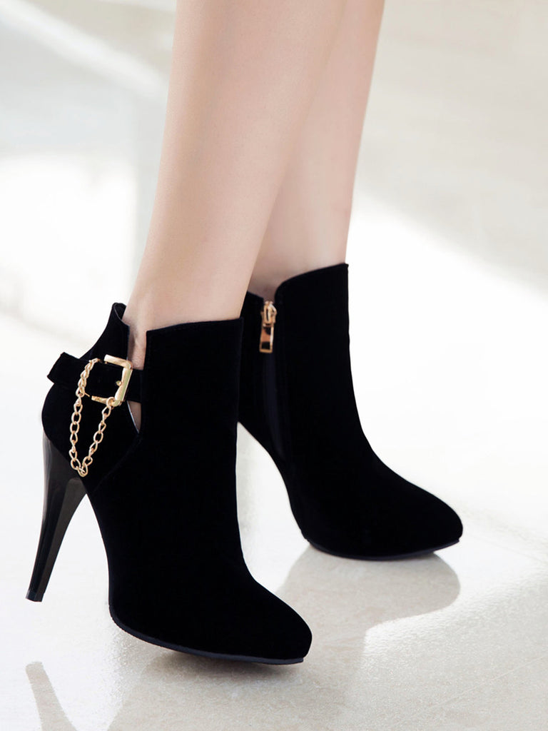 Women's Bottines Simple Style Pointed Toe Solid Color Buckle High Heel Shoes