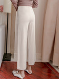 Women's Pants High Waist Solid Cropped Wide Leg Pants