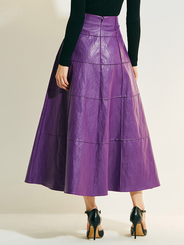 Women's Maxi Skirt High Waisted Solid Color Fashion Aline Skirt