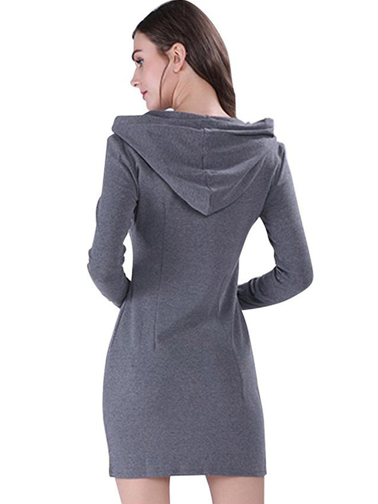Women's Dress Chic All Match Solid Color V Neck Long Sleeve Hooded Slim Mini Dress