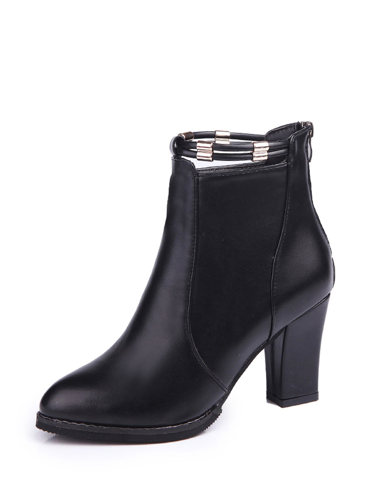 Women's Boots Solid Color Back Zipper Stylish Ankle Thick Heel Pointed Toe Shoes