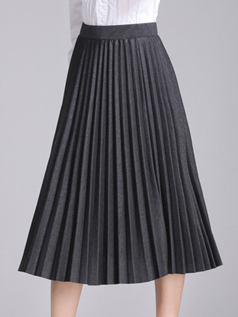 Women's Skirts Cascading Ruffle Aline Solid Color High Waist Design All Match Pleated Skirts