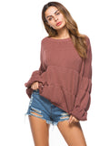 Woman's Pullover Puff Sleeve Temperamental Loose O Neck Sweater Top