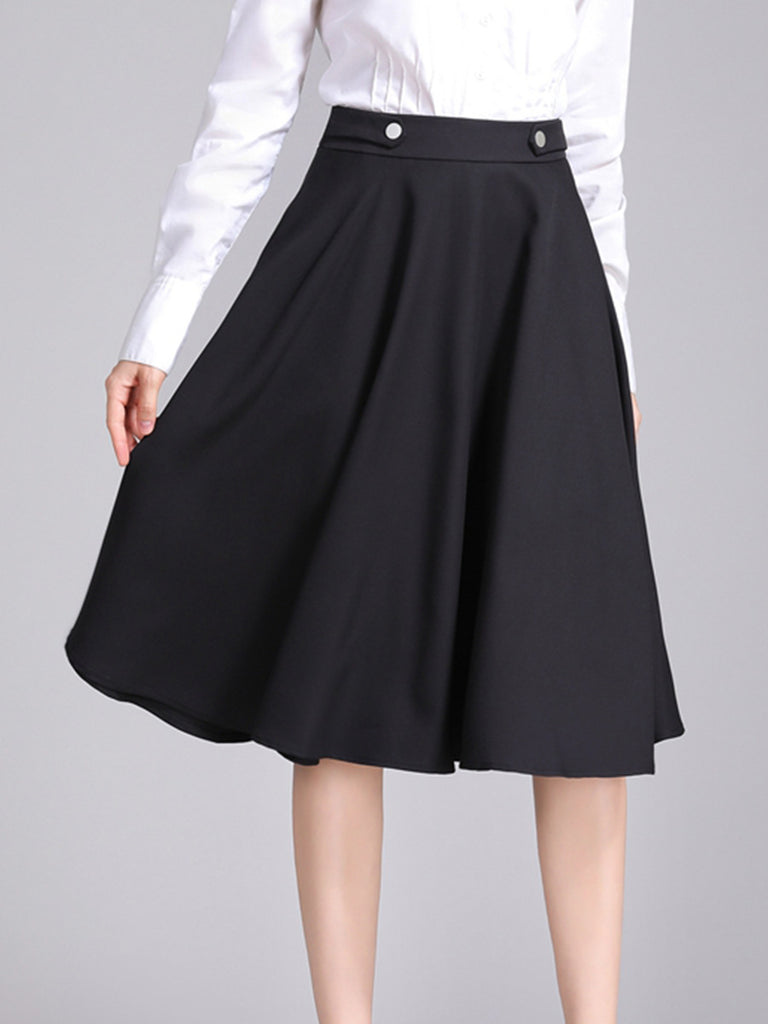Women's Skirts Aline Solid Color Pocket Midi Pattern Button Decorate Trendy Style Expansion Skirts