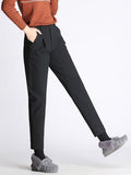 Women's Harem Pants Solid Color Cropped Woolen Plus Size Casual Pants