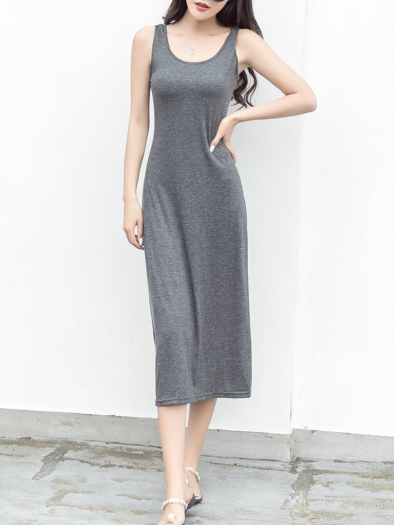 Women's Tank Dress Solid Color O Neck Slim Midi Dress