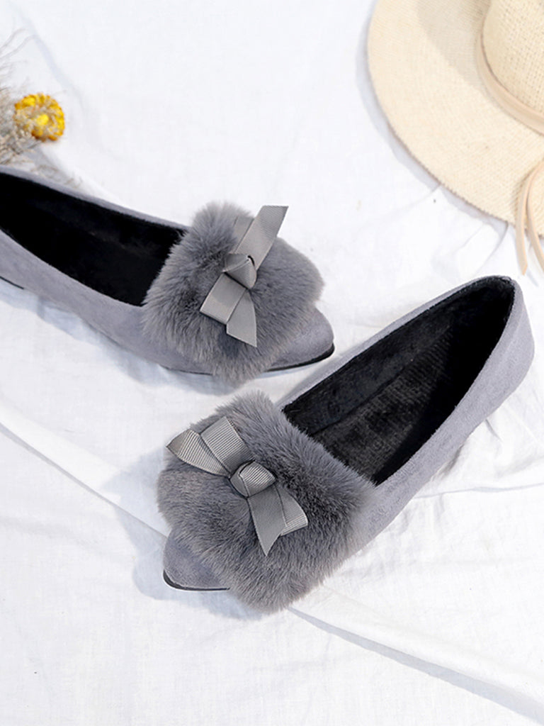 Women's Flats Plain Style Plush Comfy All Match Stylish Bow Knot Decorated Pointed Toe Shoes