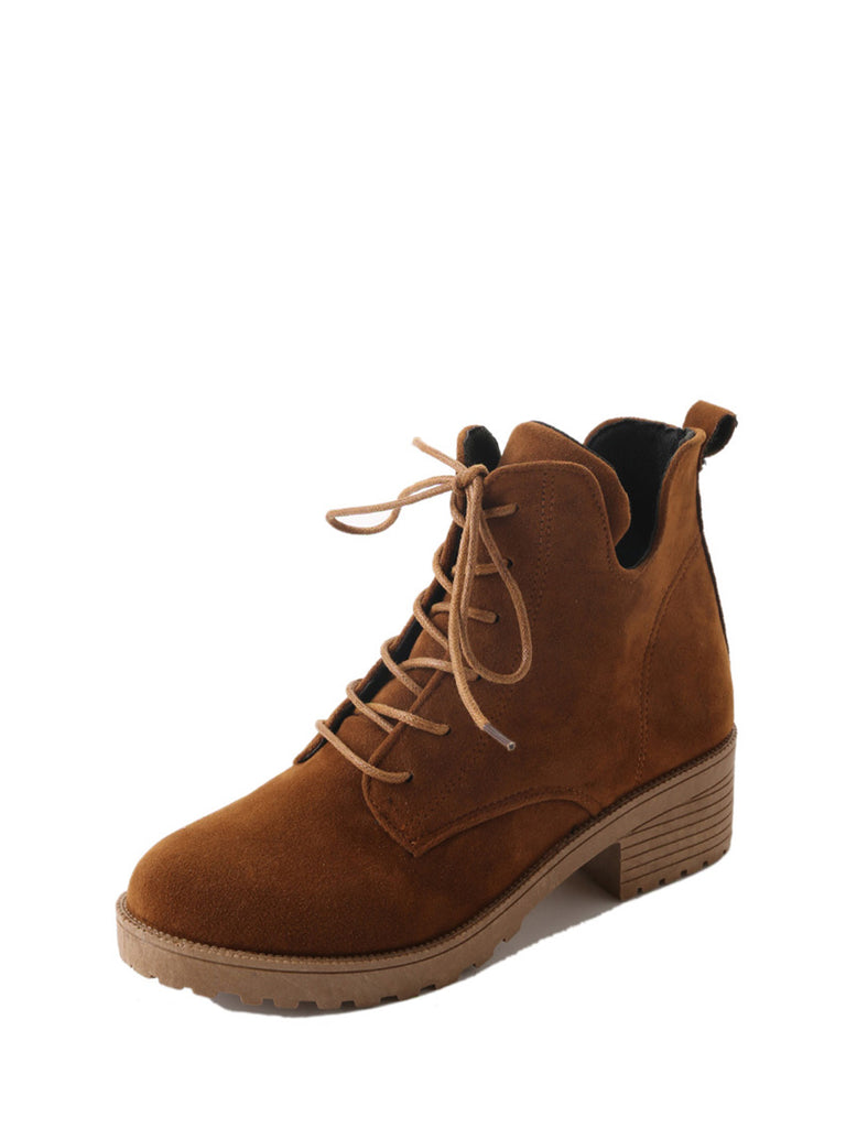 Women's Martin Boots Solid Color Lace Up All Match Casual Thick Heel Round Toe Shoes