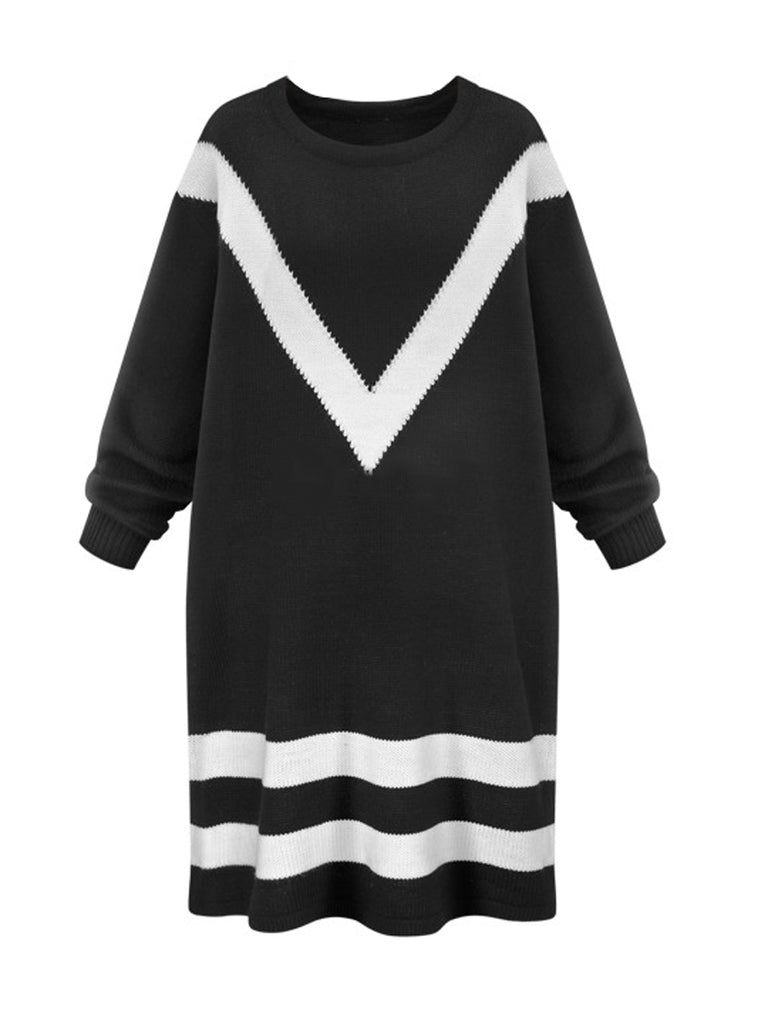 Women's Sweater Long Sleeve Colorblock O Neck All Match Stylish Top