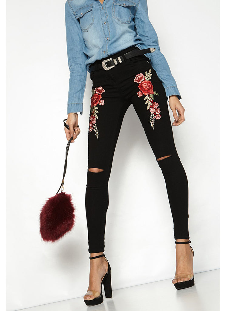 Women's Denim Pants Hole Design Floral Pattern Skinny Jeans