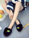 Women's Flats Sweet Style Color Block Fur Ball Decorated Comfy Slip Ons Round Toe Shoes