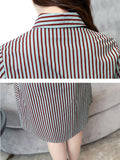 Women's Shirt Dress Turn Down Collar Long Sleeve Striped Aline Dress