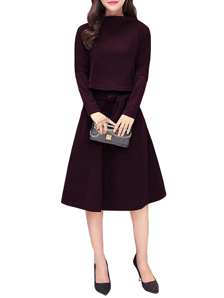 Women's Dress Long Sleeve Solid Patchwork Aline Dress