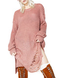 Women's Pullover O Neck Long Sleeve Hollow Out Solid Color Loose Knitwear