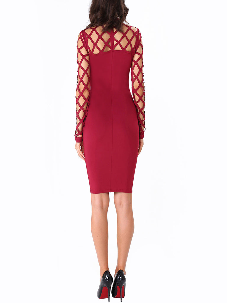 Women's Sheath Dress Solid Hollow Out Sexy Dress